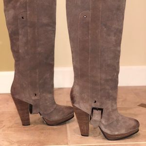 Suede, brown, high boots, boots, buckle